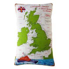 Upcycled British Map Cushion RNLI Lifeboats Shipping News £60.00