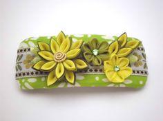 Hair Barrette FRENCH BARRETTE Green Yellow kanzashi by JagataraArt #frenchbarrette #hairclip  #flowers #giftideas #giftforher #craftshout
