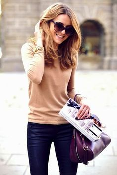 Classic style- camel sweater and jeans