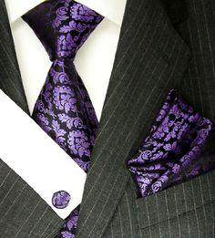 Lorenzo Cana Italian Silk Tie Hanky Set with Cufflinks Purple Black Paisley 8435905 Brand : LORENZO CANA. Men's woven silk tie set with hanky and cufflinks - Excellent Quality. 100% Pure Silk. Hand Made , Jacquard Woven Silk. Designer Neck Tie Set.  #LORENZO_CANA #Apparel