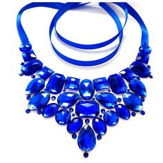 Royal Blue Bib Necklace, Jeweled Rhinestone Statement, Blue Bridesmaid Necklace, Blue Statement Necklace