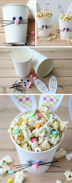 These decorated cups are perfect for easter and simple to make. You could hand out popcorn during easter just to spread a festive spirit at your school.