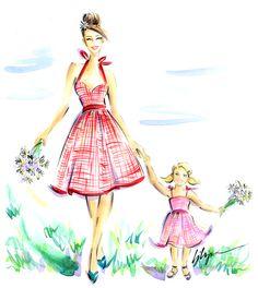 Retro Dress by Jennifer Lilya Fashion Illustration