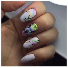 Bird nail art, Bright colorful nails, Bright summer nails, Bright summer nails ideas, Exquisite nails, Gel polish on the nails oval, Oval nails, Painted nail designs