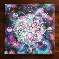 "Neon Space | 12"" x 12"" Moon Phase Mandala Space Galaxy Psychedelic Zen Acrylic Painting 