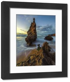 Framed Print-Beautiful Ocean Landscape with Rocks at Sunrise, Kenton-On-Sea, Eastern Cape Province, South Africa-Framed Print made in the USA Poster Prints, Framed Prints, Port Elizabeth, Beautiful Ocean, Landscaping With Rocks, Sunshine Coast, East London, Colour Images, Rivers