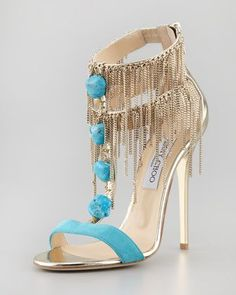 Turquoise & Gold is a favorite color combo and then Jimmy Choo kicked up this #shoeoftheday with some fringe. Belle Chain-Fringe T-Strap Sandal