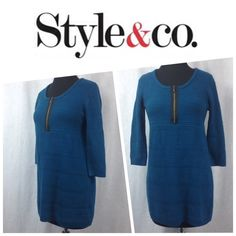 TODAY ONLYNWOT Tunic Sweater PETITE SMALL Small petite.  NWOT.  Bronze zipper.  Stretchy. Style & Co Sweaters Crew & Scoop Necks
