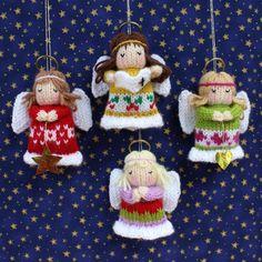Little Angels - Christmas Decorations Knitting pattern por Dollytime Christmas Elf, Christmas Angels, Christmas Crafts, Christmas Ornaments, Father Christmas, Angel Ornaments, Knitted Christmas Decorations, Christmas Knitting Patterns, Paintbox Yarn