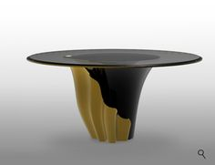 YASMINE, luxury dining table, is fashioned from tailored smoked glass, mounted on a solid wooden base, classic black lacquer and a touch of gold plated intermix. Coffee Table To Dining Table, Luxury Dining Tables, Furniture Dining Table, Dining Chairs, Kitchen Furniture, Dining Room, Classic Furniture, Furniture Styles, Furniture Ideas