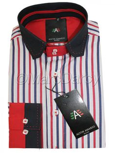 Mens Designer Multi Coloured Striped Red Shirt (J4)