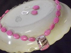 Pink Turquoise Beads Chain Necklace Earrings by Deanasprairiegems, $58.59