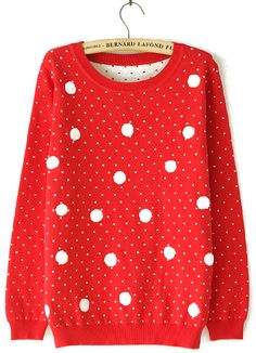 Red Long Sleeve Polka Dot Pullover Sweater