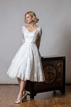 92ddd6cbc16 SHELLY Wedding Dress  Spotted tulle with applique lace All our Rita Mae  Short Wedding Dresses