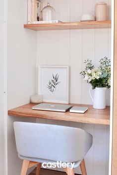 A good workspace can make such a difference to your daily productivity and mood. We love how has transformed this space into a functional and stylish study nook 💕See more of our Dylan chair in khaki that you can get in your home too! Home Office Space, Home Office Design, Home Office Decor, Home Decor, Kitchen Office Nook, Closet Office, Interior Design Living Room, Living Room Decor, Bedroom Decor