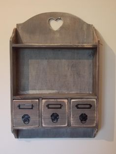 Rustic Farm House Style Wooden Three Drawer and Shelf Wall Unit, Shelf Wall, Shabby Chic Style, Farm House, My Dream Home, Farmhouse Style, Drawer, The Unit, Rustic, House Styles