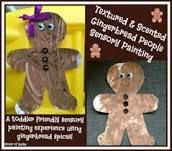 textured and scented gingerbread people sensory painting