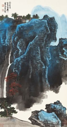 xie, zhiliu waterfall in lush moun | landscape | sotheby's hk0634lot8tcm7en