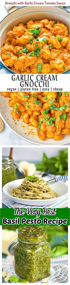 Amazingly delicious and super easy to make Gnocchi with Garlic Cream Tomato Sauce. Entirely vegan, gluten free and made with tahini for creaminess and taste. No need for cream or other dairy. #vegan #glutenfree #tahini #Italianfood #dairyfree #lunch #dinner #comfortfood #holidaytable #contentednesscooking Ube Recipes, Healthy Recipes, Talipia Recipes, Basil Pesto Recipes, Making Gnocchi, Tomato Sauce Recipe, Comfortfood, Tahini, Italian Recipes