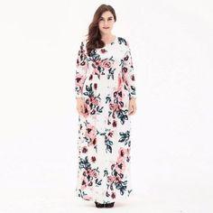 Plus size Elegant printed long maxi Dress #maxidress #Elegantstyle #plussize #OfficeLady #officelooks #workwear #printed