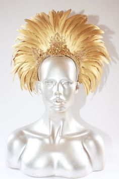 BURNING MAN  Tribal Gold feather headdress by StraightLacedSF, $265.00