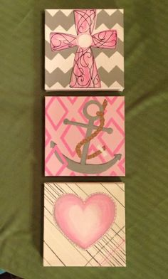 Faith, Hope, Love, painted for a baby girl room!