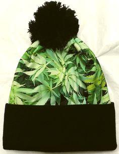 e9ced3366159e Marijuana kush pot hemp leaf weed winter warm ski knit beanie pom watch cap  hat