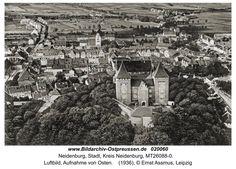 Neidenburg, Luftbild, Aufnahme von Osten.