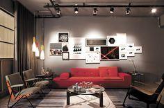 Decoração de: Sala de estar; trilho de iluminação aparente; Casa de Valentina