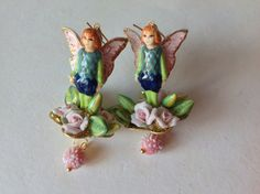 Reserved Sheherazad,Victorian fairy earrings ,Roses elf ,Miriam Haskell elements,filigree flowers baskets ,pink sugar beads