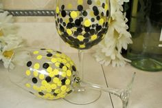 Don't get stuck with boring wine glasses when you could have unique. $24.00 set of 2.  Hand Painted Polka Dot Wine Glasses: Yellow & by MyCreativeTable