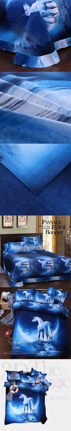 2017 Lastest Hot 3D 4/3pcs Outer Space Designer Bedding Galaxy Horse Printed Bedding Sets Bedlinen Duvet Cover Set/Pillow Case