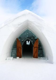 Photo about Entrance Igloo with blue sky. Image of imposing, building, polar - 8262116 Quebec, Destinations, Outdoor Gear, Entrance, Tent, Canada, Sky, Stock Photos, House Styles