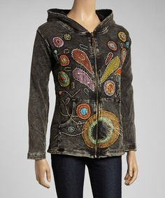 Take a look at this Gray & Green Paisley Zip-Up Hoodie by Rising International on #zulily today!