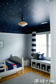 This listing is for star decals which come in sets of 148 stars and include 2 different sizes as featured on the Little Bits of Home blog. Samantha, the blogger, had us custom make these stars for her wonderful Star Wars themed bedroom project where she used them to create a fantastic outer
