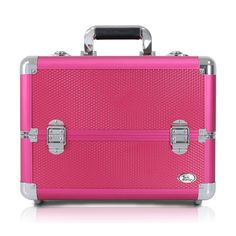 Perfect for organizing and storing your beauty essentials at home or while traveling, this case has a spacious interior, multiple compartments and removable and expandable trays. Show off your sassy style with this hot pink train case from Jacki Design.