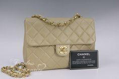 Timeless Luxuries - CHANEL Beige Lambskin Mini Classic Flap Bag Gold Hw