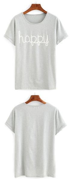Letter Print Short Sleeve T-shirt ONLY NEED $7.99