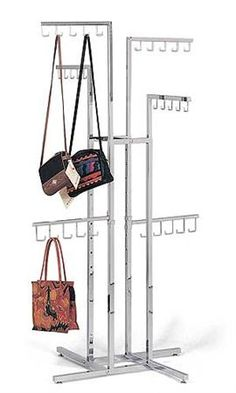 $63.00-Purse Tree- Chrome 4-Way Handbag Racks with J-Hook Arms