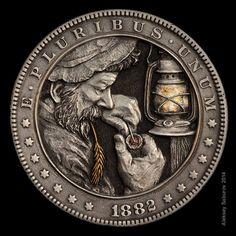 Fancy Hobo Nickel Coin Art Hand Carved 1926