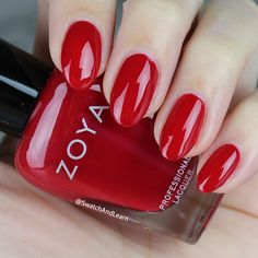 ❤️❤️❤️ #ZoyaMing from the #ZoyaPartyGirls Collection: you'll be the lady in red (or the fella in red) with this scarlet beauty! (See collection swatches on SwatchAndLearn.com.) #zoya #EverydayZoya #nails #mani #SwatchAndLearn