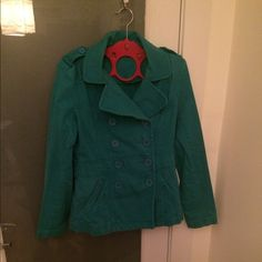 Teal colored light jacket women's size 12. Teal pea coat style jacket women's size 12. There is some wear and tear as far as the color fading but still in great condition. H&M Jackets & Coats Pea Coats