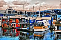 Floating homes in Victoria, BC.