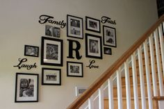 50 Stunning Photo Wall Gallery Ideas - decoratoo Only a few people think of working with this space to earn a gallery wall. This space is a fashionable addition to a residence's design Staircase Wall Decor, Stairway Decorating, Wall Decor For Stairway, Decorating Ideas, Staircase Frames, Stair Decor, Staircase Ideas, Decor Ideas, Family Pictures On Wall
