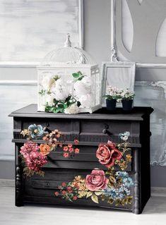 Restaurar repaginar reciclar móveis Decoupage Furniture, Hand Painted Furniture, Funky Furniture, Recycled Furniture, Refurbished Furniture, Paint Furniture, Shabby Chic Furniture, Furniture Projects, Rustic Furniture