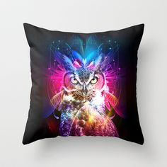 Owl Fighter Throw Pillow by THMD - $20.00