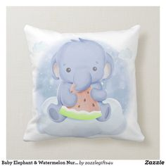 Shop Baby Elephant & Watermelon Nursery Cushion created by Personalize it with photos & text or purchase as is! Elephant Throw Pillow, Baby Elephant, Throw Pillows, Animal Nursery, Baby Design, Custom Pillows, House Colors, Baby Room, Watermelon