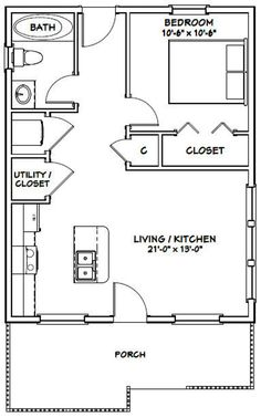 House -- -- 616 sq ft - Excellent Floor Plans - Add private deck on back and loft with stairs. Garage Plans, Shed Plans, Shed Floor Plans, Studio Floor Plans, Basement Plans, Car Garage, Basement Ideas, Granny Pods, Small House Floor Plans
