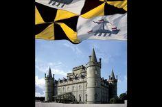 Inveraray Castle with the Duke's Flag - Photography © Nick McCann, © Tracy McCulloch Duke Of Argyll, Inveraray Castle, Loch Fyne, Campbell Clan, Castle Howard, Blenheim Palace, Scotland Castles, Castle House, Scottish Highlands