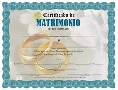 Certificado de Matrimonio para Imprimir Gratis                              …